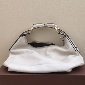 Cream Leather Hand Bag